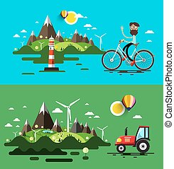 Landscapes Flat Design Vector Set