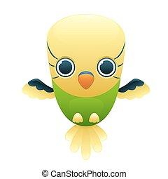 Budgerigar cute cartoon character