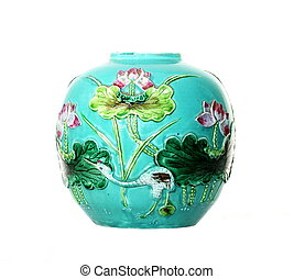 Antique Majolica Tin-glazed Vase - An antique 19thC majolica...