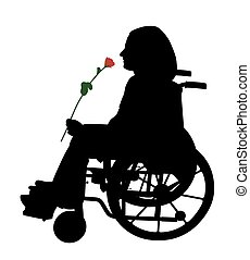 Disabled person in wheelchair with red rose - Illustration...