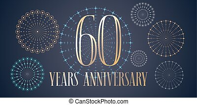 60 years anniversary vector icon, logo. Template design,...