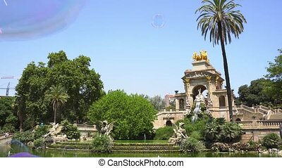 Park Ciutadella - Soap bubbles flying in Park de la...