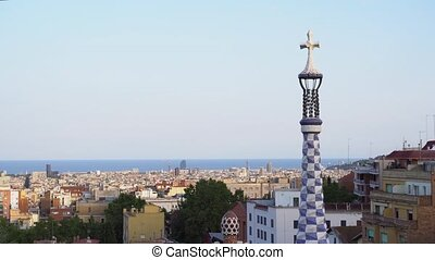 park Guell, Barcelona - Gaudi park and cityscape of...
