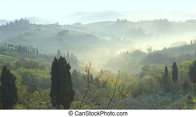 misty morning panorama from the San Gimignano walls,...