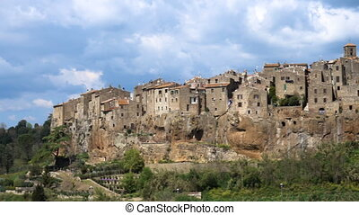 view of famous italian town Pitigliano from the viewpoint