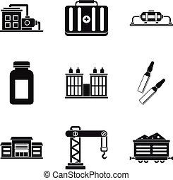 Processing factory icons set, simple style - Processing...