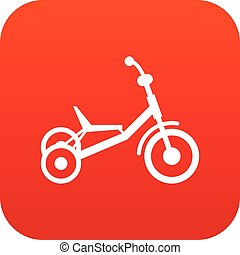 Tricycle icon digital red for any design isolated on white...