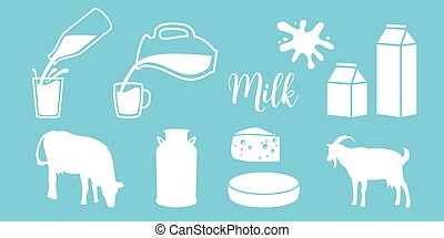 Cow silhouette, diary, cheese, goat, milk can, bottle, jar...