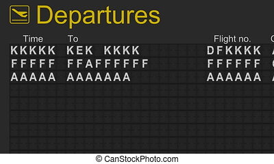 Departures board - Split flap mechanical departures board