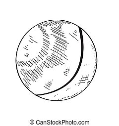 Ping pong ball - Isolated sketch of a ping pong ball, Vector...
