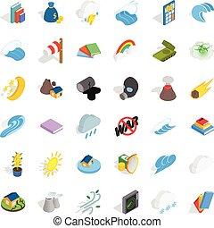 Force icons set, isometric style - Force icons set....