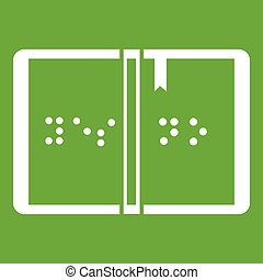 Braille icon green - Braille icon white isolated on green...