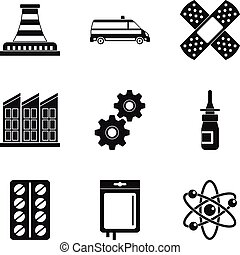 Chemical factory icons set, simple style - Chemical factory...