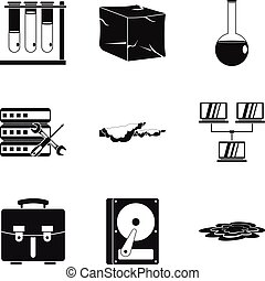 Chemical industry icons set, simple style - Chemical...