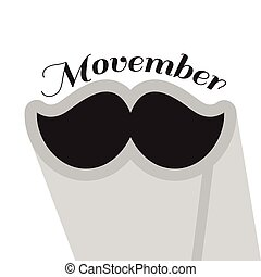 Movember graphic design - Isolated mustache and text,...