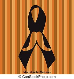 Movember graphic design - Isolated mustache and a ribbon,...