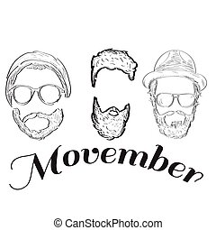 Movember graphic design - Outline of hipsters and text,...