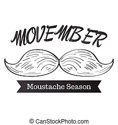 Movember graphic design - Isolated outline of a mustache and...