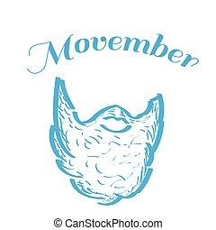 Movember graphic design - Isolated outline of a beard,...