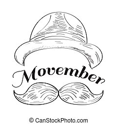 Movember graphic design - Isolated outline of a hat and a...