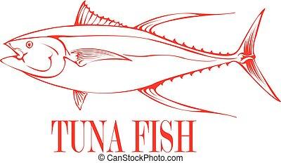Tuna Fish - Outline of a Tuna Fish.