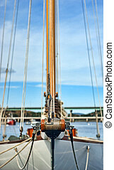 Sailboat bowsprit - Close view of the very end of a bowsprit...