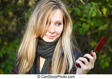 Young Model With Blond Hairs Fall Autumn - Young cute girl...