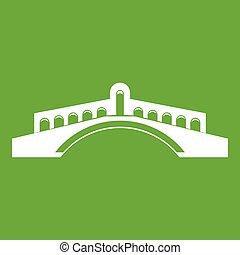 Bridge icon green - Bridge icon white isolated on green...