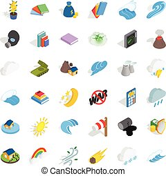 Protection icons set, isometric style - Protection icons...