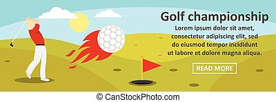 Golf championship banner horizontal concept. Flat...
