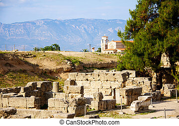 Archaeological Dig Site at Apollo Temple, Corinth, Greece -...