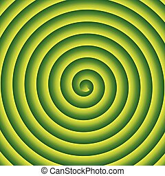 Green and yellow spiral vector background.