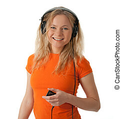 Smiling girl with headphones and mp3 player