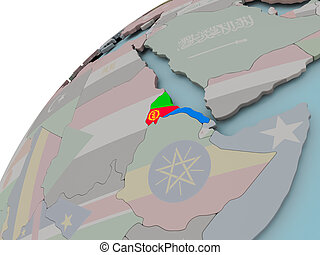 Map of Eritrea with flag - Eritrea on political globe with...