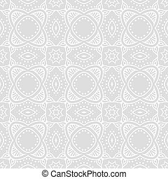 Art deco vector geometric pattern in silver white. Seamless...