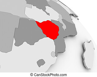 Map of Zimbabwe - 3D render of Zimbabwe in red on grey...