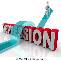 Depression - Jumping Over the Word - A person jumps over the...