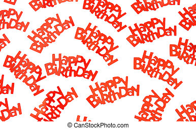 Happy birthday sayings on white background - A group of red...