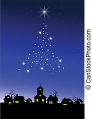 Starry night - Vector illustration of Christmas night