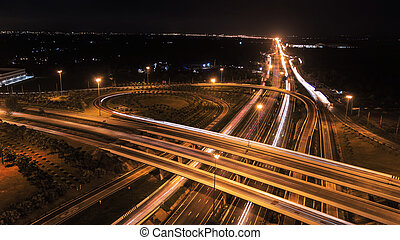 over Road city highway at night - Bird eye viwe - drone -Top...
