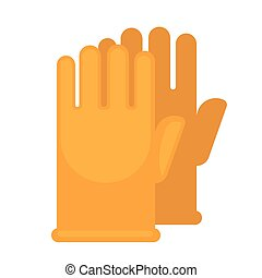 Yellow rubber gloves for safe cleaning with chemical means...