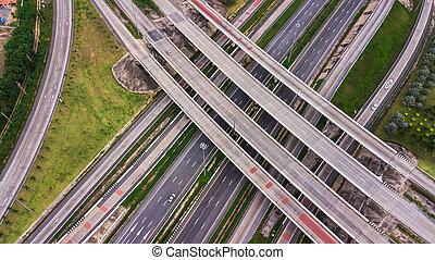 cidade, viwe, olho, sobre, -, zangão, rodovia, -top, pássaro, estrada, vista