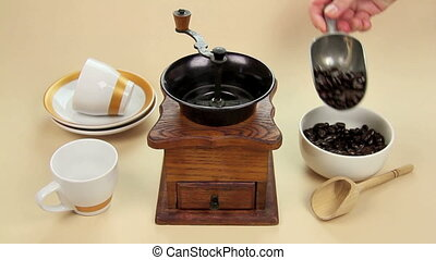 Coffee Grinder - Edited sequence of coffee beans being...