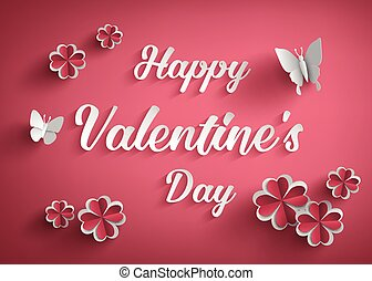 Concept of happy valentine day,text on red background with...