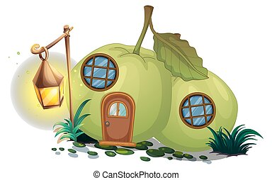 Guava house with lantern illustration