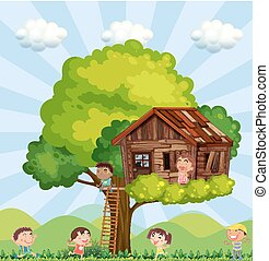 Many children playing in the treehouse illustration