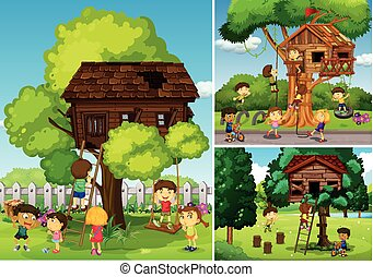 Childern playing in the treehouse illustration