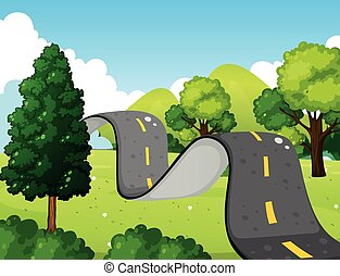 Scene with bumpy road in the park illustration