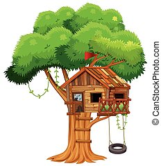 Old treehouse on the branch illustration