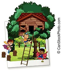 Photo shot with kids at treehouse illustration